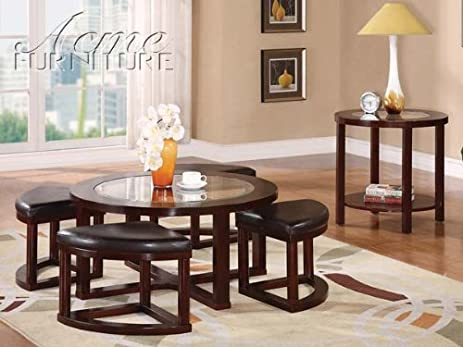 5pc Coffee Table Ottoman Set Cherry Brown By Acme Furniture