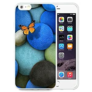 NEW Unique Custom Designed iPhone 6 Plus 5.5 Inch Phone Case With Lonely Butterfly Blue Rocks_White Phone Case wangjiang maoyi