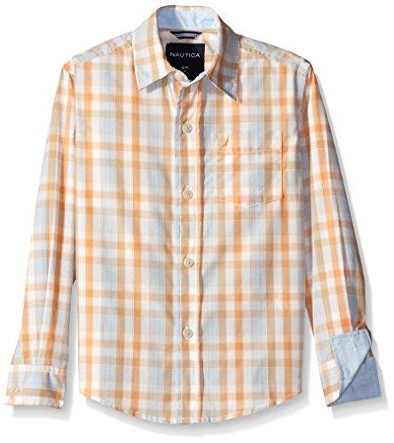 Nautica Little Boys' Long Sleeve Plaid Shirt, Cream, Medium (5/6)