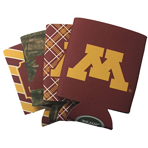 Jay Mac Sports NCAA 4-Pack Multi Color Sublimated Neoprene Beverage 12oz Insulated Can Hugger (Minnesota Golden Gophers)
