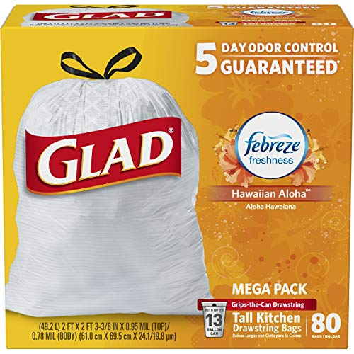 Glad OdorShield Tall Kitchen Drawstring Trash Bags - Febreze Hawaiian Aloha - 13 Gallon - 80 Count