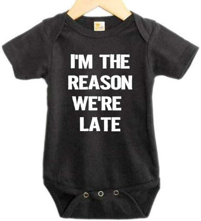 Baby Onesie Unisex Baby Onesies I'm the reason we're late baby onesie