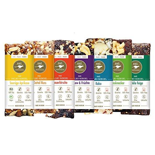 Paleo Riegel Variety Box (7x 40g) von eat Performance (bio, vegan, Müsliriegel ohne Zucker und Getreide, glutenfrei, laktosefrei, superfood)