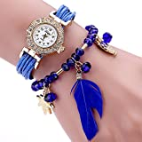 Duoya Women's Crystal Beads Bracelet Watch Feather Weave Band Wrap Around D051