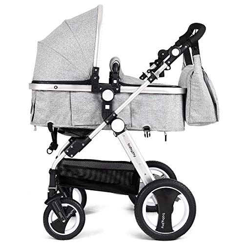 - BABY JOY Baby Stroller, Aluminum 2-in-1 Foldable Toddler Stroller, Convertible Bassinet Reclining Stroller Carriage with Cup Holder & Foot Cover & Diaper Bag, Gray