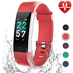 LETSCOM Fitness Tracker Color Screen, Activity Tracker with Heart Rate Monitor, Sleep Monitor, Step Counter, Calorie Counter, IP68 Waterproof Smart Pedometer Watch for Men Women Kids (Red)