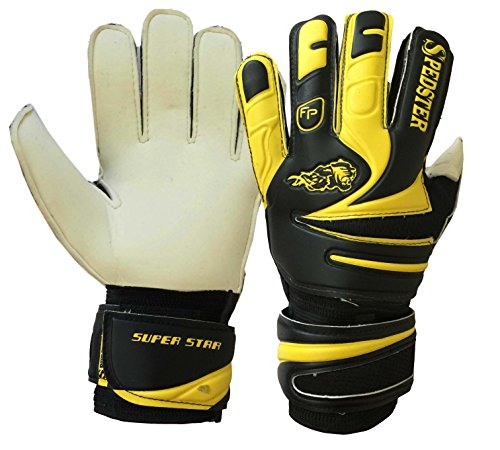 Spedster Youth&Adult Goalie Goalkeeper Gloves,Strong Grip for The Toughest Saves, With Finger Spines to Give Splendid Protection to Prevent Injuries. superstar Yellow/Black (2)