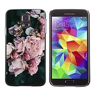 Be Good Phone Accessory // Dura Cáscara cubierta Protectora Caso Carcasa Funda de Protección para Samsung Galaxy S5 SM-G900 // Garden Petals Pink Blue