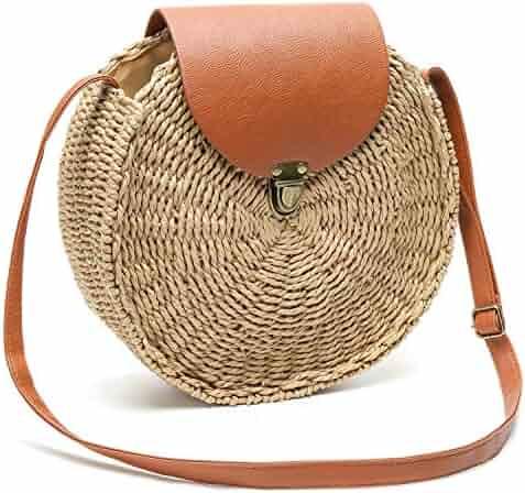 40fa466f4 Obosoyo Straw Crossbody Bag Women Weave Shoulder Bag Round Summer Beach Sea  Tote Handbags