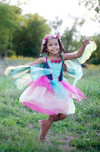 Simple Fairy Costume (Great Pretenders Fairy Blossom Dress with Wings-Medium)