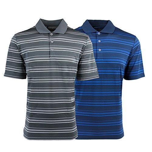 adidas Men's Puremotion Textured Stripe Polo 2-Pack Lead & Rich Blue 3XL