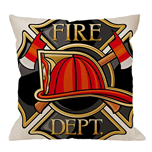 HGOD DESIGNS Firefighters Throw Pillow Cushion Cover,Fire Department Maltese Cross Symbol Truck Helmet Engine Cotton Linen Polyester Decorative Home Decor Sofa Couch Desk Chair Bedroom 18x18inch