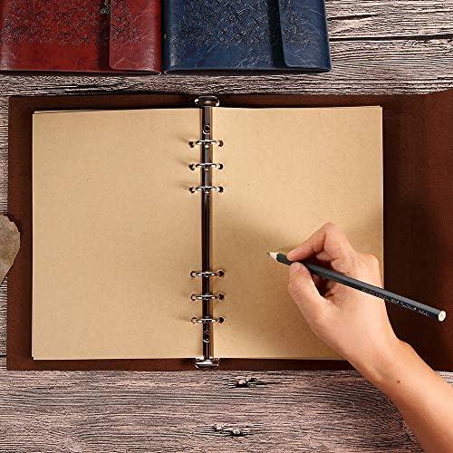 Maleden vintage notebook Refillable Dairy album per schizzi diario di viaggio a scrivere in con pagine vuote per donne ragazze regali A5 Deep Blue Diario in pelle