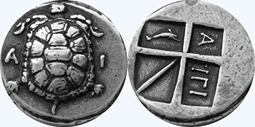 Golden Artifacts Tortoise, Decline of Aegina as a Naval Power, Greek Coins, Greek Mythology (11-S)