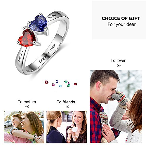 Love Jewelry Personalized Mother Rings with 2 Heart Simulated Birthstones Custom Engagement Ring Promise Rings for Her (7) by Love Jewelry (Image #3)
