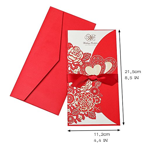 YUFENG 25PCS Invitation Cards Laser Cut Red Wedding Party Invitations Cards with Lace for Wedding Engagement Party