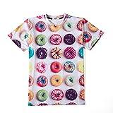 ONSEME Unisex-Adult Delicious Donuts T-Shirt Summer Hipster 3D Emoji Tees Tops, Donuts, Medium