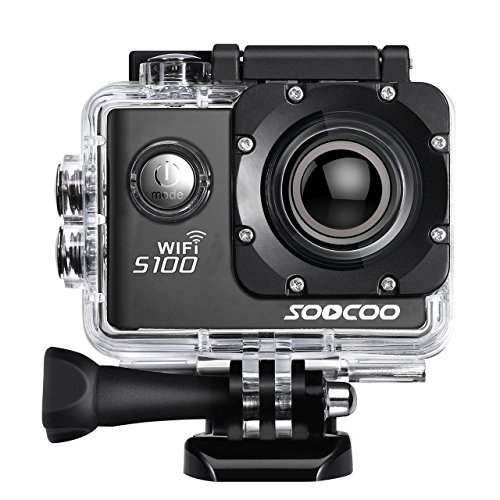 4K WiFi Sports Action Camera, SOOCOO S100 Action Camera Ultra HD Waterproof DV Camcorder 20MP 170 Degree Wide Angle 2 inch LCD Screen/2 Batteries/17 Mounting Kits-Black