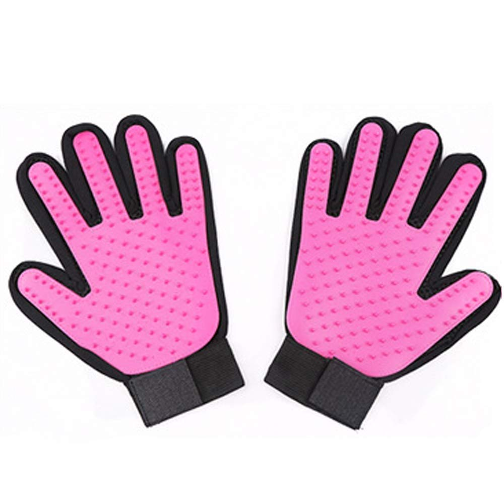 Pet Gloves 2 in 1 Clean Tool Pet Tweezers Cat Dog Hair Removal Gloves Multi-Purpose Pet Gloves Brush Pink by CWMJH