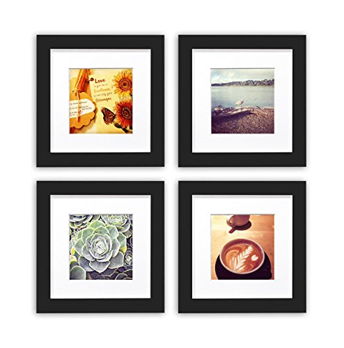 Golden State Art Smartphone Instagram Frames Collection, Set of 4, 6x6-inch Square Photo Wood Frames with White Photo Mat & Real Glass for 4x4 photo, Black (Collection Square Wall)