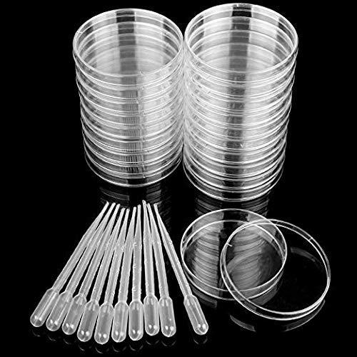 20 Pcs Plastic Petri Dish, Acrux7 92.5 x 15mm Sterile Plastic Petri Dish with Lid, 10 Pcs of 3ml Disposable Plastic Transfer Pipettes, Design for School Science Project, Laboratory, Biological ()