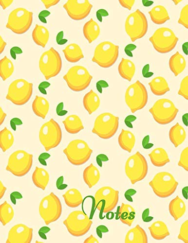 Notes: Wide lined book with bright yellow lemons on the cover for writing or doing school work by Shiny Things Designs