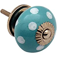 Nicola Spring Ceramic Cupboard Drawer Knob - Polka Dot Design - Turquoise / White