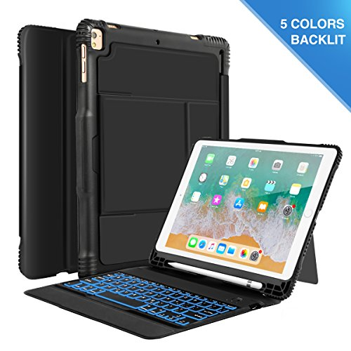 CoastaCloud New iPad 9.7 Keyboard Case with Led Backlit, Detachable Wireless Keyboard Shockproof Heavy Duty Impact Case with Pencil Holder for iPad 9.7 2018/2017 / iPad Pro 9.7 / iPad Air 1 2