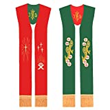 BLESSUME Priest Reverible Stole Chasuble Purple and White Stole