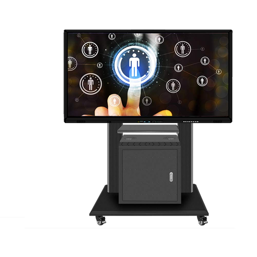 Rolling TV Stand Mobile TV Cart, Height Adjustable with Shelf for LCD LED Flat Screens TV Stand Mount with Wheels Fits 46  to 85  Screens 360°Degree Swivel