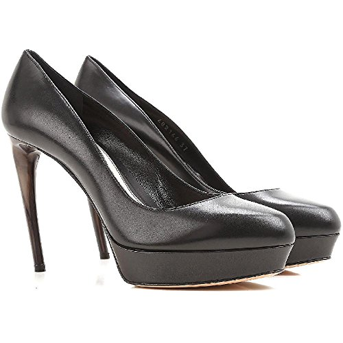 Alexander McQueen Women's Black Calf Leather Peep Toes Shoes - Size: 5 US