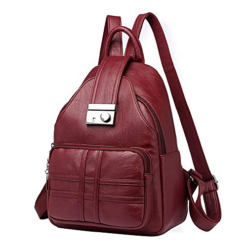 Clearance!!! ZOMUSAR Women Backpack Simple Casual Soft Leather Anti-theft Travel Small Backpack  (Wine)