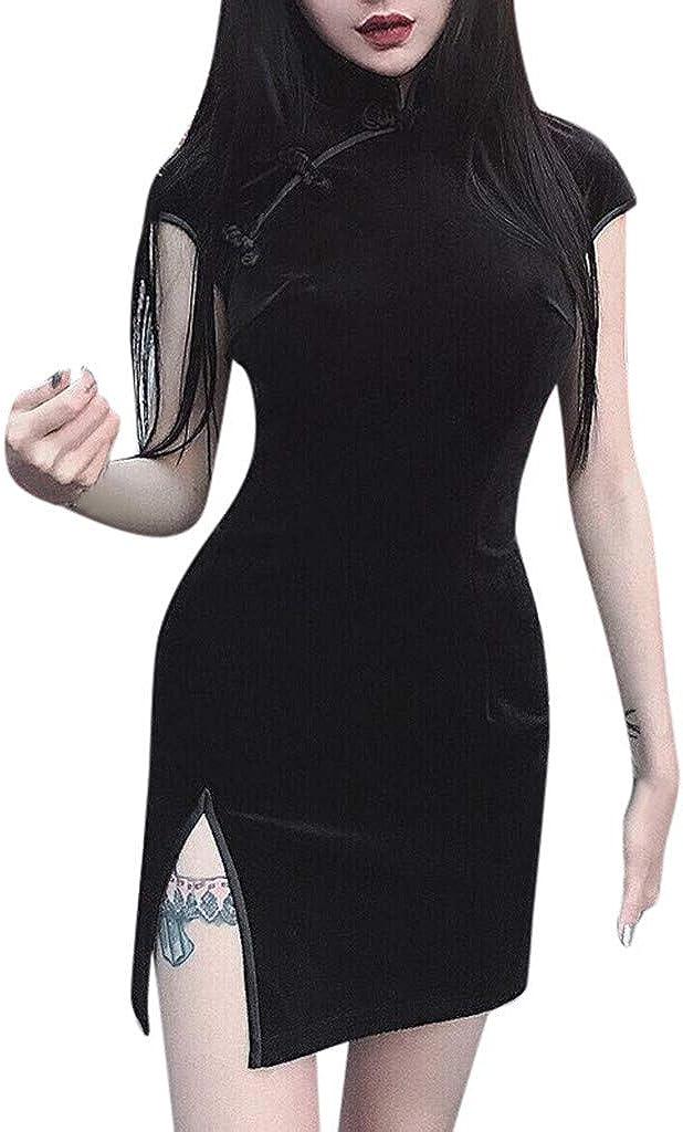 SCHOLIEBEN Women Gothic Punk Chinese Cheongsam Harajuku Dress Vintage Split Dress