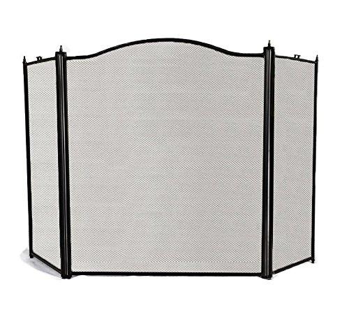 Amagabeli 3-panel Basic Arch Screen for Fireplace,30-inch High, Black, with BONUS Log Tote Bag