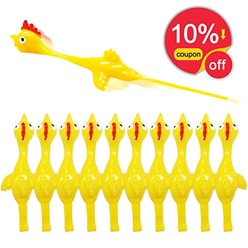 Rubber Chicken Slingshot Chicken Flickin Chicken Game Flying Toys Sticky Funny Rubber Chickens Slingshot Chicken Dog Toy The Office Pranks Easter Chicks Turkey Toys Gifts for Kids Adults 10 -