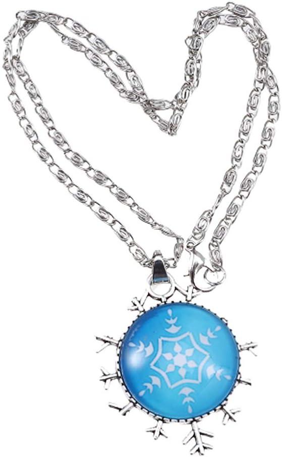 VOSAREA collar copo de nieve tiempo de navidad collar de piedras preciosas colgante cuello decoración suéter cadena para fiesta de navidad