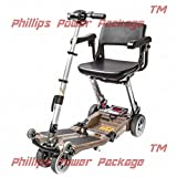 Free Rider USA - Luggie Elite - Compact Lightweight Foldable Scooter - 4-Wheel - Champagne - PHILLIPS POWER PACKAGE TM - TO $500 VALUE