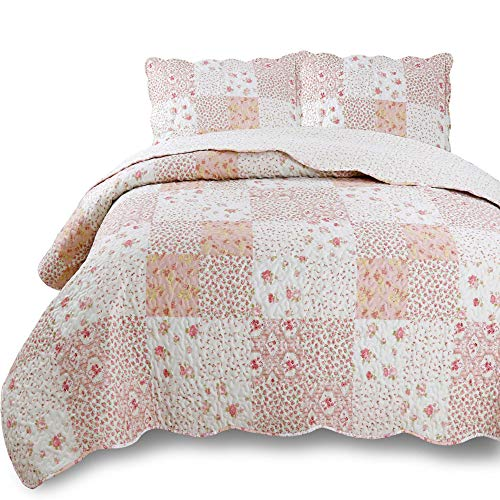 Kasentex Country-Chic Printed Pre-Washed Quilt Set. Microfiber Fabric Quilted Design. KING Quilt + 2 Shams. ()