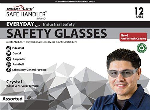 SAFE HANDLER Safety Glasses, Full Color with Polycarbonate Lens, Variety Pack (Box of 12) by Safe Handler (Image #2)
