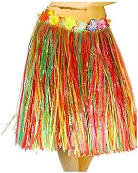 Falda Hawaiana Adulto Hula Multicolor (60 cm): Amazon.es ...