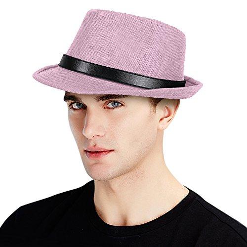 [Light Pink Straw Fedora Summer Hat Faux Leather Belt Band - LXL] (Fedora Gangster Hat)