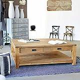 Table basse carrée bois de TECK RECYCLE 120cm