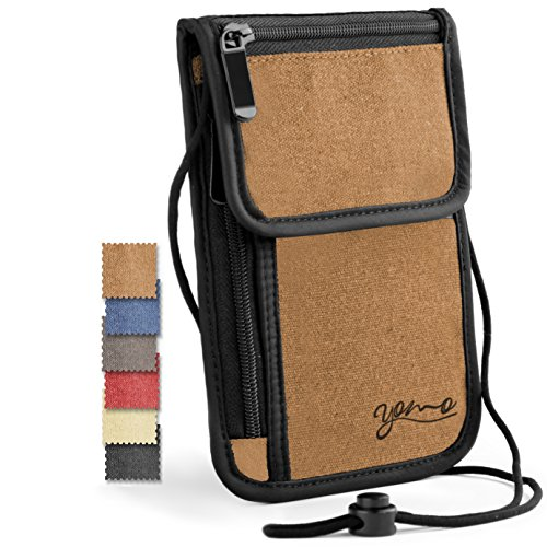Passport Holder- by YOMO. RFID Safe. The Classic Neck Travel Wallet. (Brown-Deluxe) by YOMO