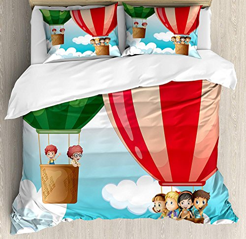 (Explore 4 Piece Bedding Set Duvet Cover Set Twin Size, Children in Hot Air Balloons Flying Kids Adventure Exploration Themed Illustration, Luxury Bed Sheet for Childrens/Kids/Teens/Adults,)