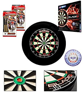 Starter-Dartset (Winmau Blade4 Bristle Dartboard, Board Surround schwarz, 2...