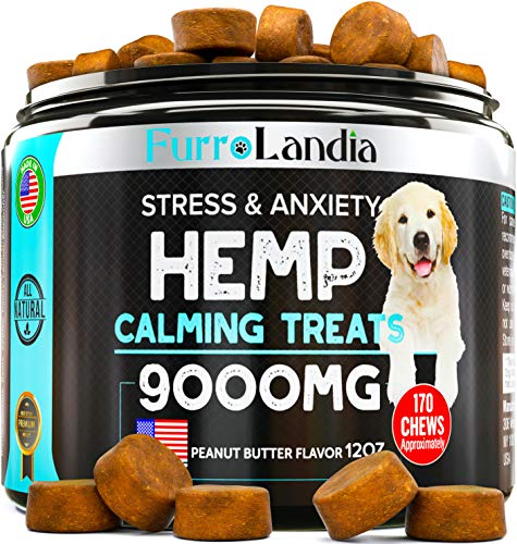 FurroLandia-Hemp-Calming-Treats-for-Dogs-170-Soft-Chews-Made-in-USA-Hemp-Oil-for-Dogs-Dog-Anxiety-Relief-Natural-Calming-Aid-Stress-Fireworks-Aggressive-Behavior-Peanut-Butter-Flavor