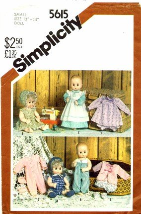 Simplicity Crafts Pattern 5615 ~ Wardrobe for Baby Dolls
