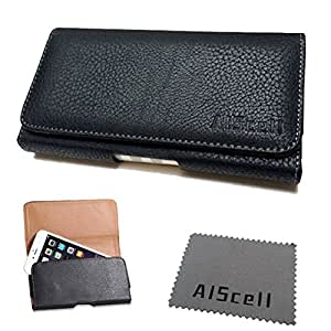 For Kyocera DuraForce Horizontal Black Soft Leather Pouch Sleeve Cover Case with Belt Clip , Belt Loop Holster + AIScell brand Microfiber Cleaning Cloth (By All_Instore)