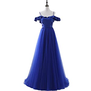 BessWedding Long Blue Tulle Spaghetti Straps Evening Dresses Prom for Girls 2