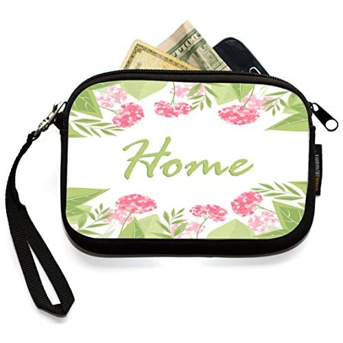 Rikki Knight HOME Pink Floral Design - Neoprene Clutch Wristlet Coin Purse with Safety Closure - Ideal case for Cosmetics Case, Camera Case, Cell Phones, Passport, etc..